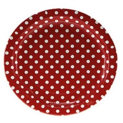 Pratos Vermelho Bolinhas Grandes