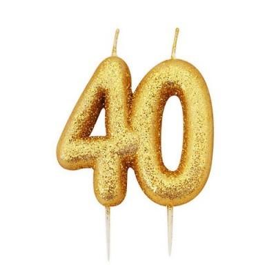 Vela Número 40 Glitter Dourado