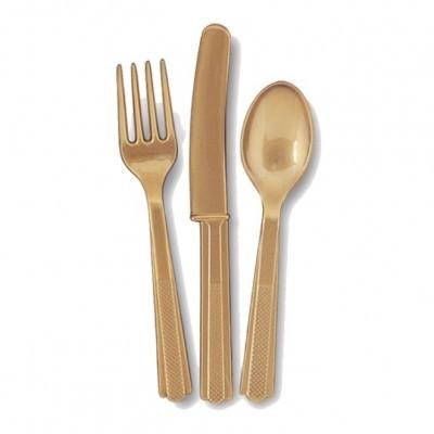 Talheres Plástico Dourado Conj.