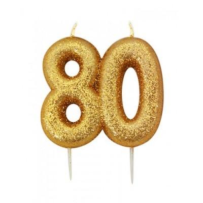 Vela Número 80 Glitter Dourado