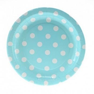 Pratos Azul Claro Bolinhas Brancas Pequeno
