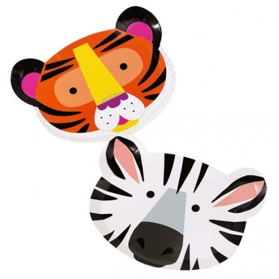Pratos Animais Selva Tigre e Zebra