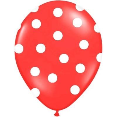 Conj. 6 Balões Bolinhas Vermelhos