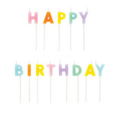 Velas Happy Birthday Rainbow Pastel
