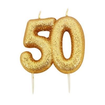 Vela Número 50 Glitter Dourado