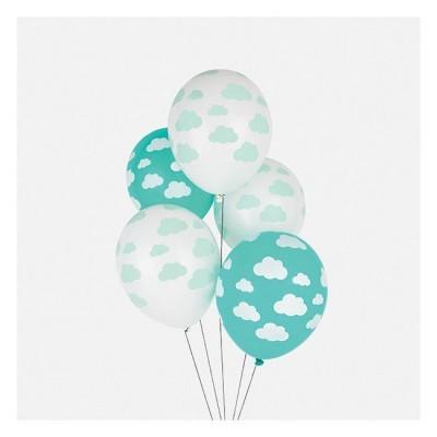 Conj. 5 Balões Nuvens Menta
