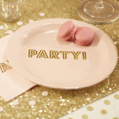 Pratos Rosa Pastel Gold Party