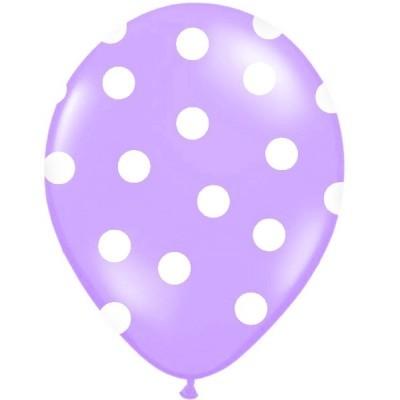 Conj. 6 Balões Bolinhas Lilás