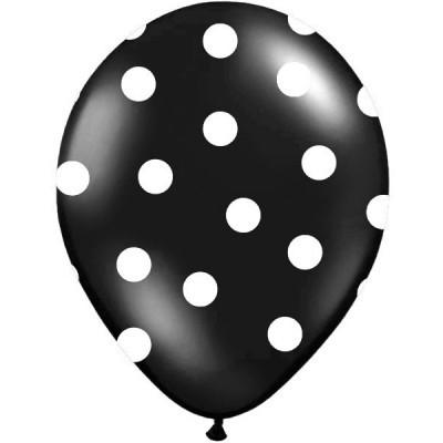 Conj. 6 Balões Bolinhas Pretos