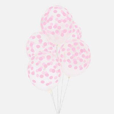 Conj. 5 Balões Confetis Impressos Rosa Claro