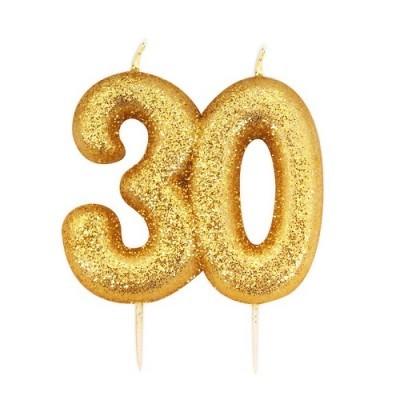 Vela Número 30 Glitter Dourado