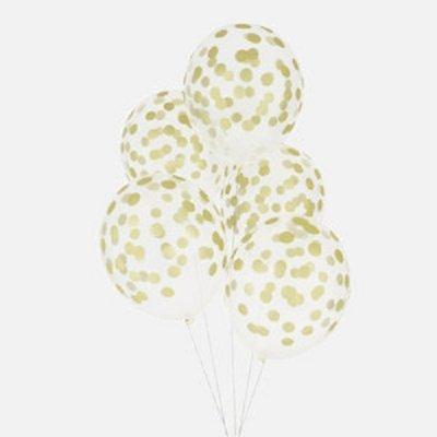 Conj. 5 Balões Confetis Impressos Dourado