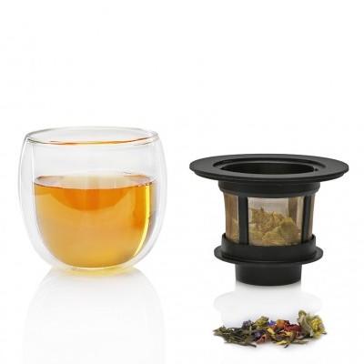 Copo de vidro duplo para bebidas quentes ou frias, com infusor - HOT GLASS SYSTEM 200 ml - Finum®