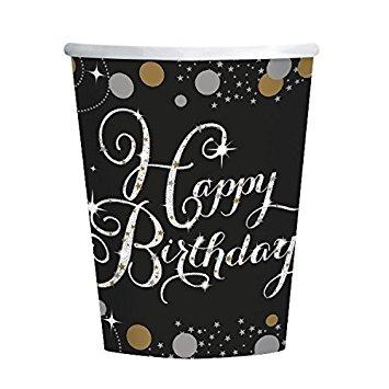 Copos Happy Birthday Black
