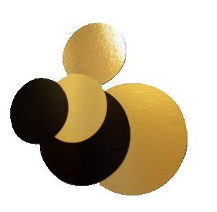 Bases redondas 2 faces: Preto/Dourado