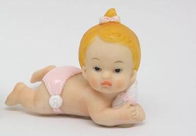 Bébé Deitado Rosa 8cm