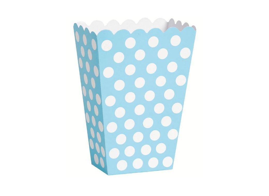 Caixas p/ Pipocas Azuis c/ Bolinhas Brancas