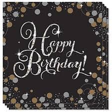 Guardanapos Happy Birthday Black
