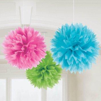 Fluffy Azul, Verde e Rosa