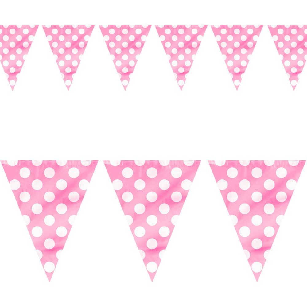 Bandeirinhas Rosa c/ Bolinhas Brancas