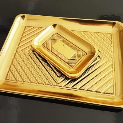 Bandeja de plástico dourada