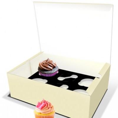 Caixas para cupcakes cor creme