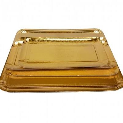 Travessas caneladas retangulares dourado