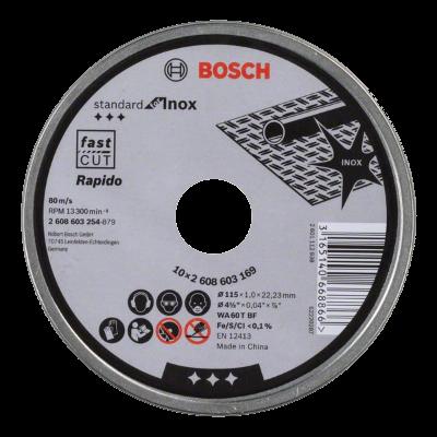 Bosch - Lata de 10 discos de corte de 115mm