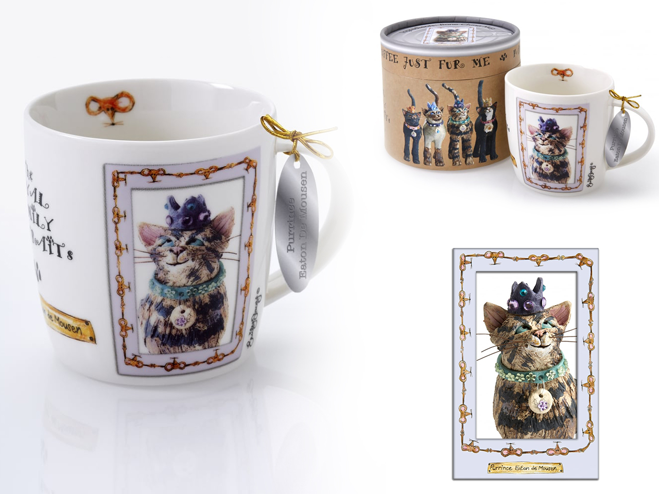 Mestres da pintura - Caneca  Gatinho com Coroa e Ratinho