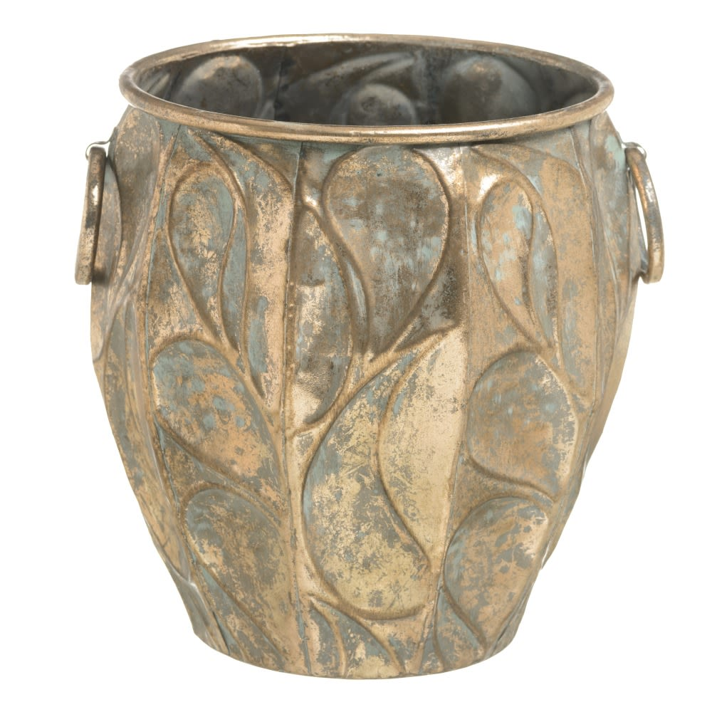 Floreira metal envelhecido tons dourado e bronze
