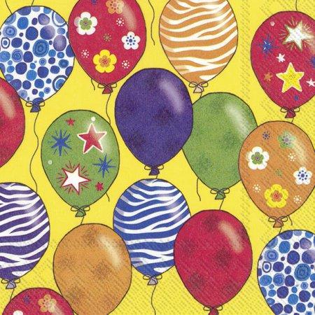 Guardanapos de papel festa balões fundo amarelo