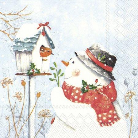 Guardanapos de papel Boneco de neve e passarinho