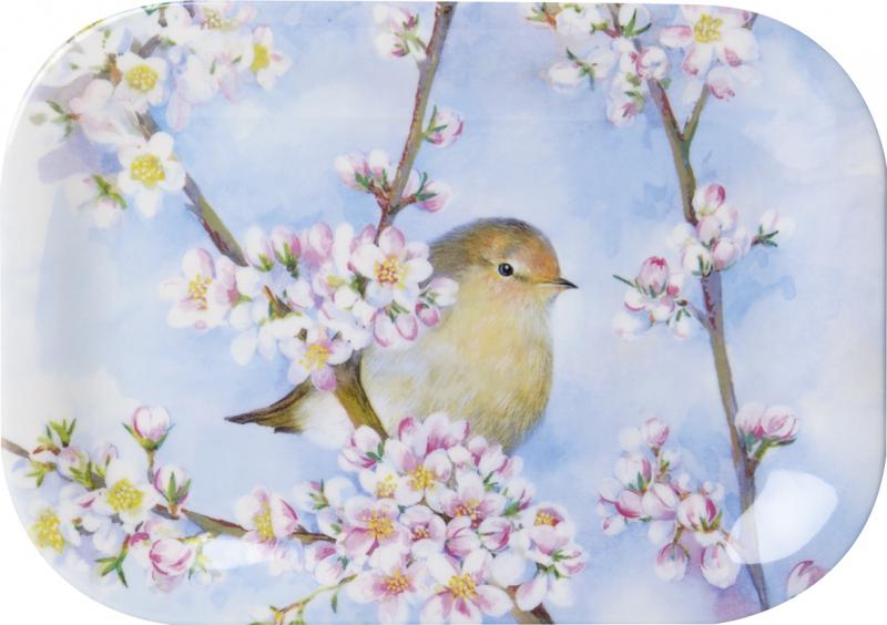 Tabuleiro pequeno para snacks harmonia, passarinho e flores