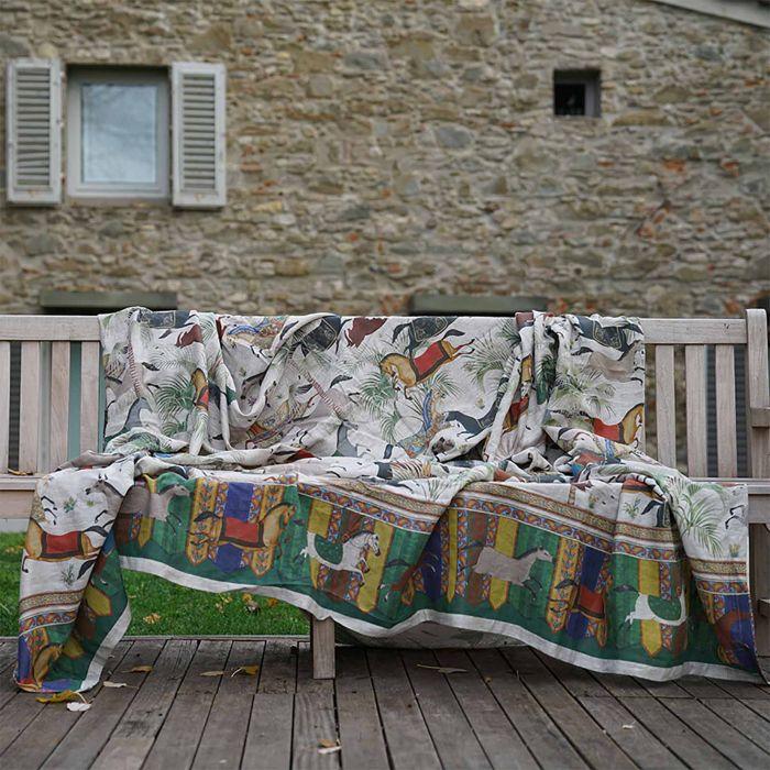 Tessitura Colcha/mural/cobertura 100%linho ,cavalos 2.70x2.80mts