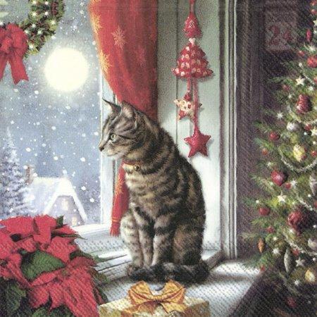 Guardanapos de papel Gato, Natal
