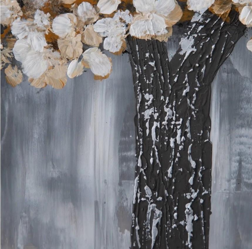 Quadro árvore tons cinza