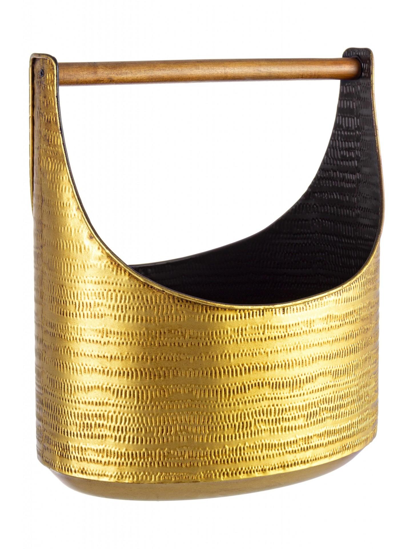 Porta revistas metal madeira dourado/preto grande