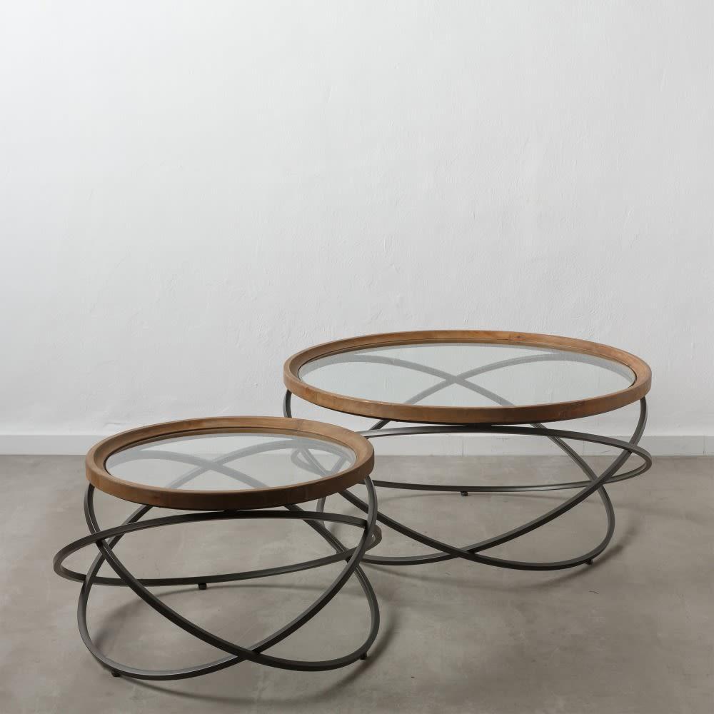 Mesa de centro redonda circulos grande madeira/ferro/vidro