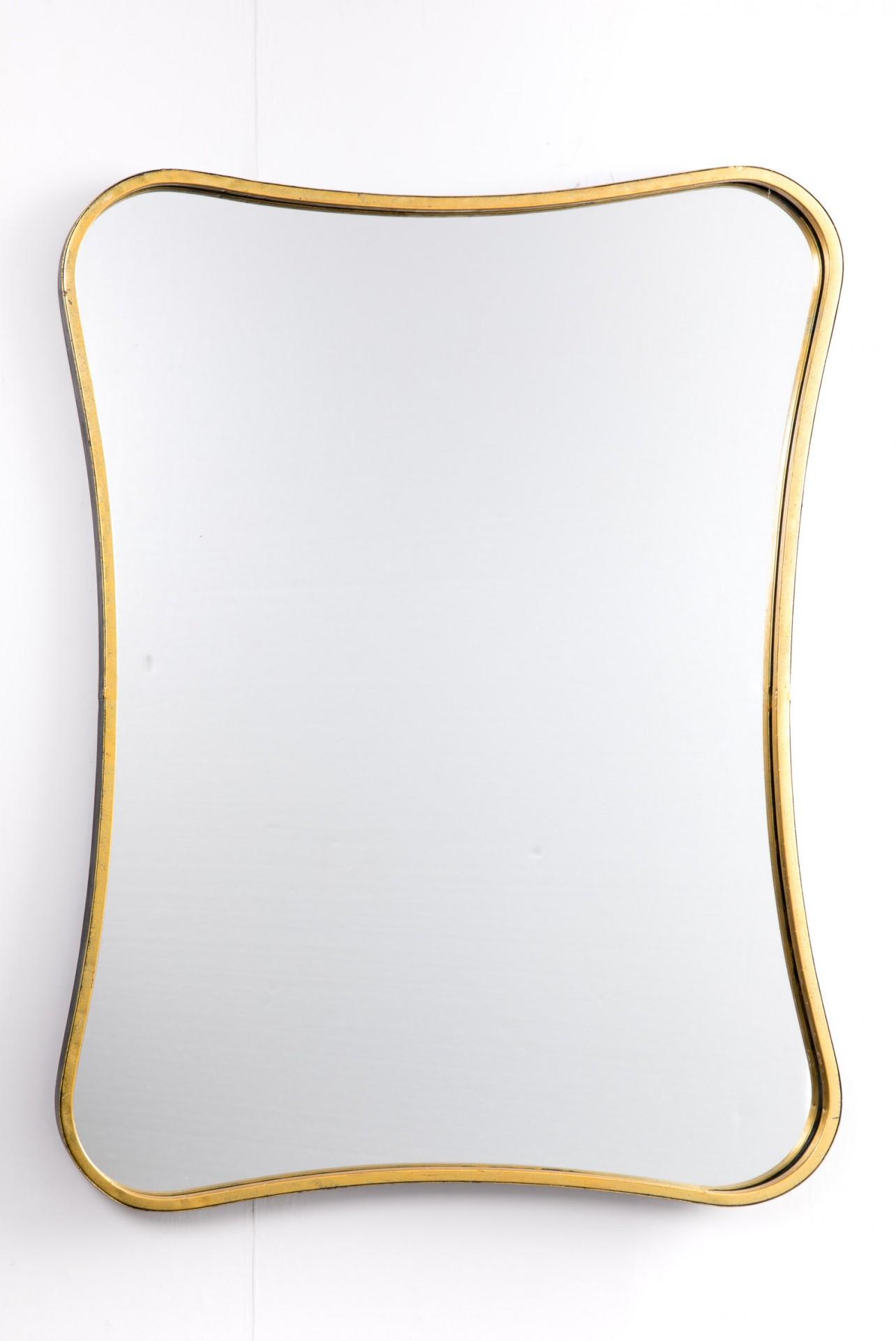 Espelho forma cintada dourado/preto