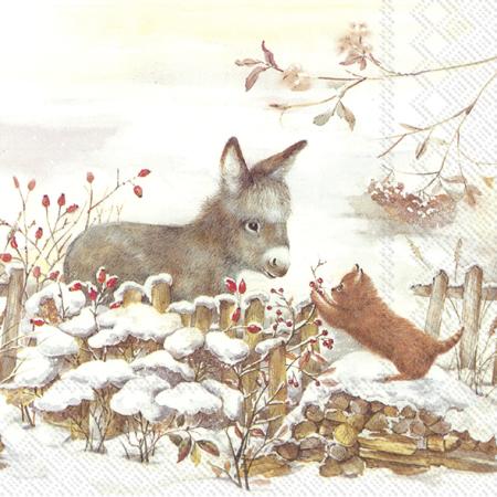 Guardanapos de papel Burro e gato na neve