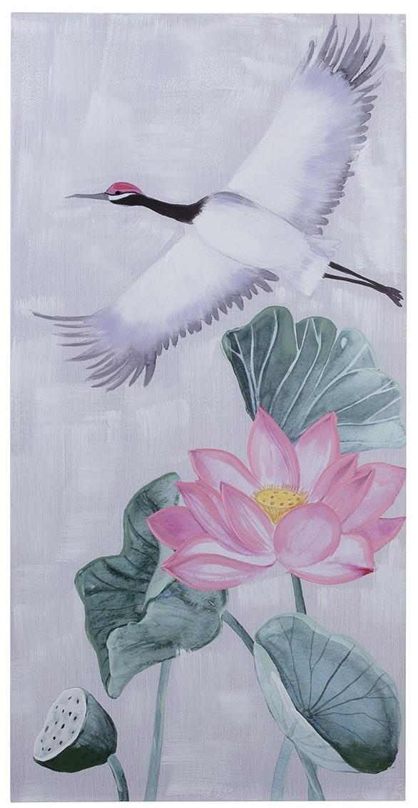 Quadro tela Garças flor de Lotus