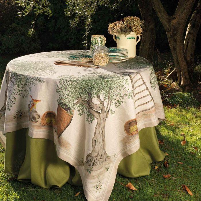 Toalha de mesa Tessitura 100% linho Oliveiras 1.70x1.70