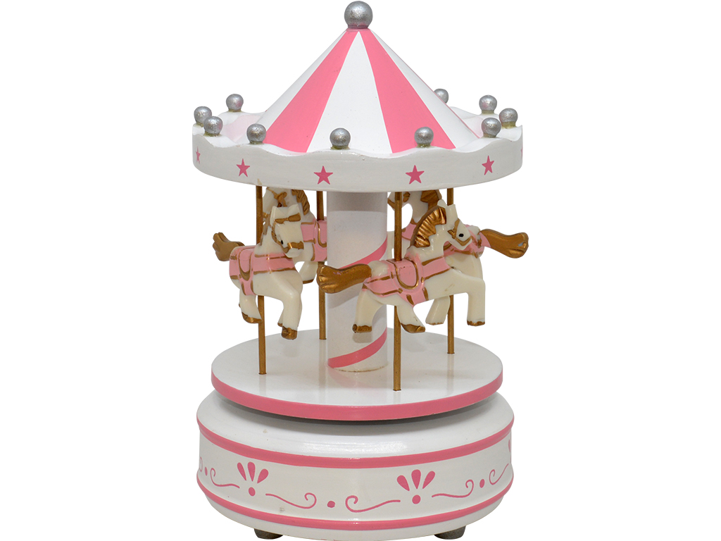 Caixa de Música Giratória - Carrocel Madeira Rosa/Branco