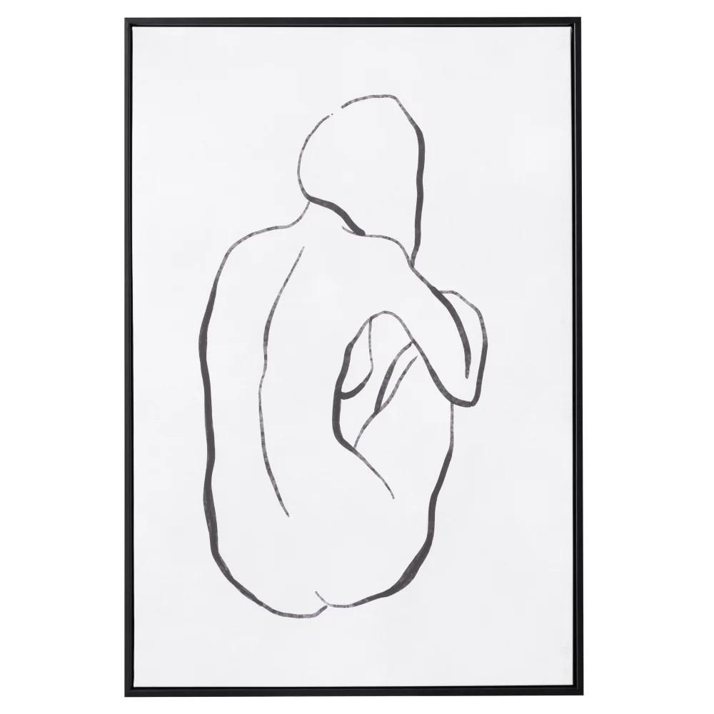 Quadro impressão preto e branco figura Femenina 62,70 X 4,30 X 92,70 CM