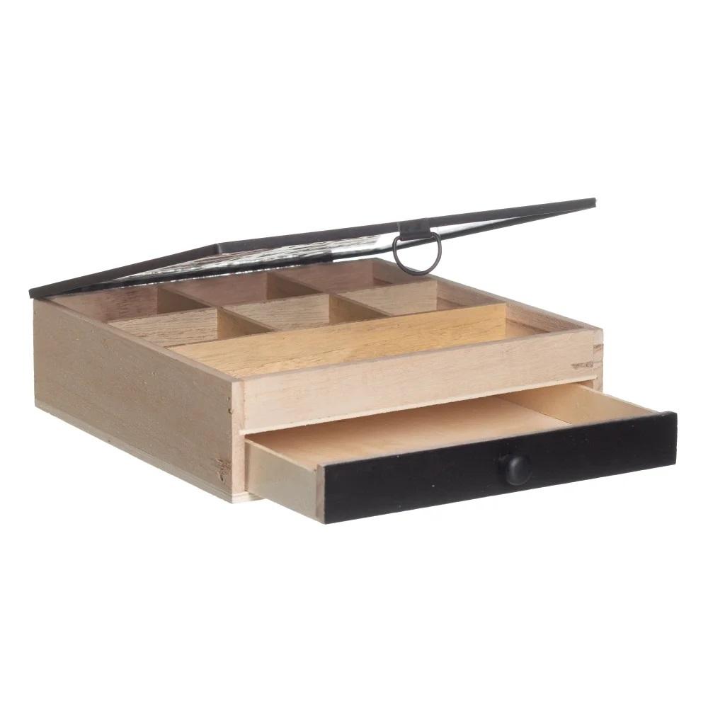Caixa costura madeira vidro metal