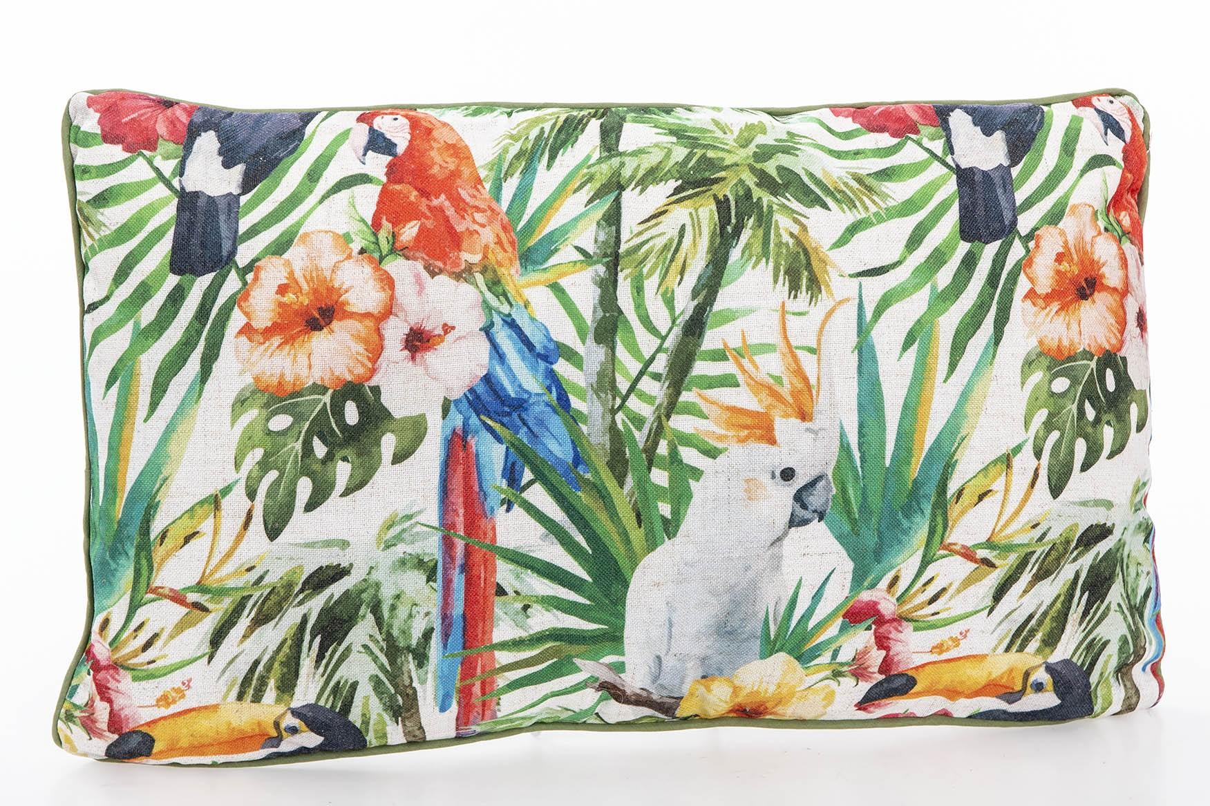 Almofada rectangular papagaios folhas selva 50X13X30 CM