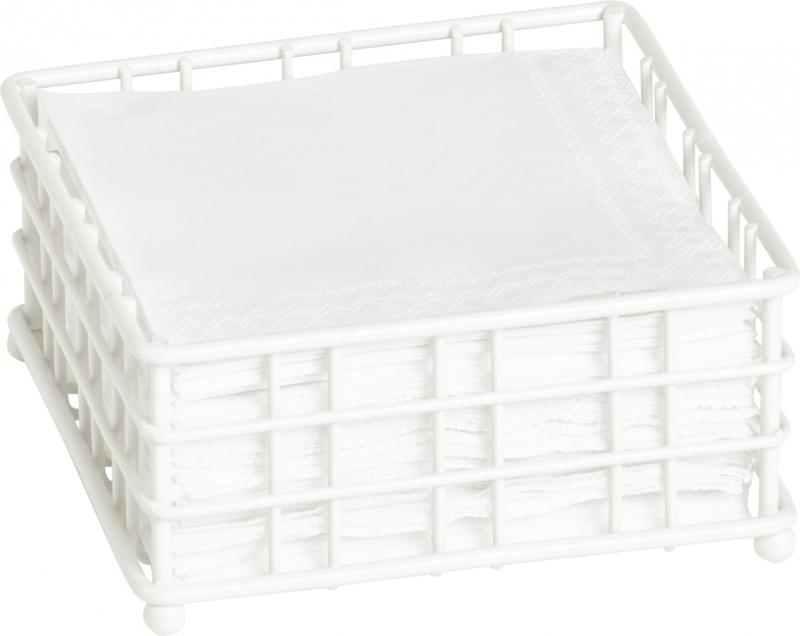 IHR-Suporte guardanapos quadrado ou rectangular metal branco
