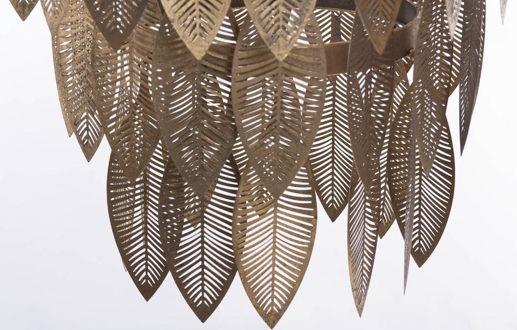 Candeeiro de tecto com folhas Douradas