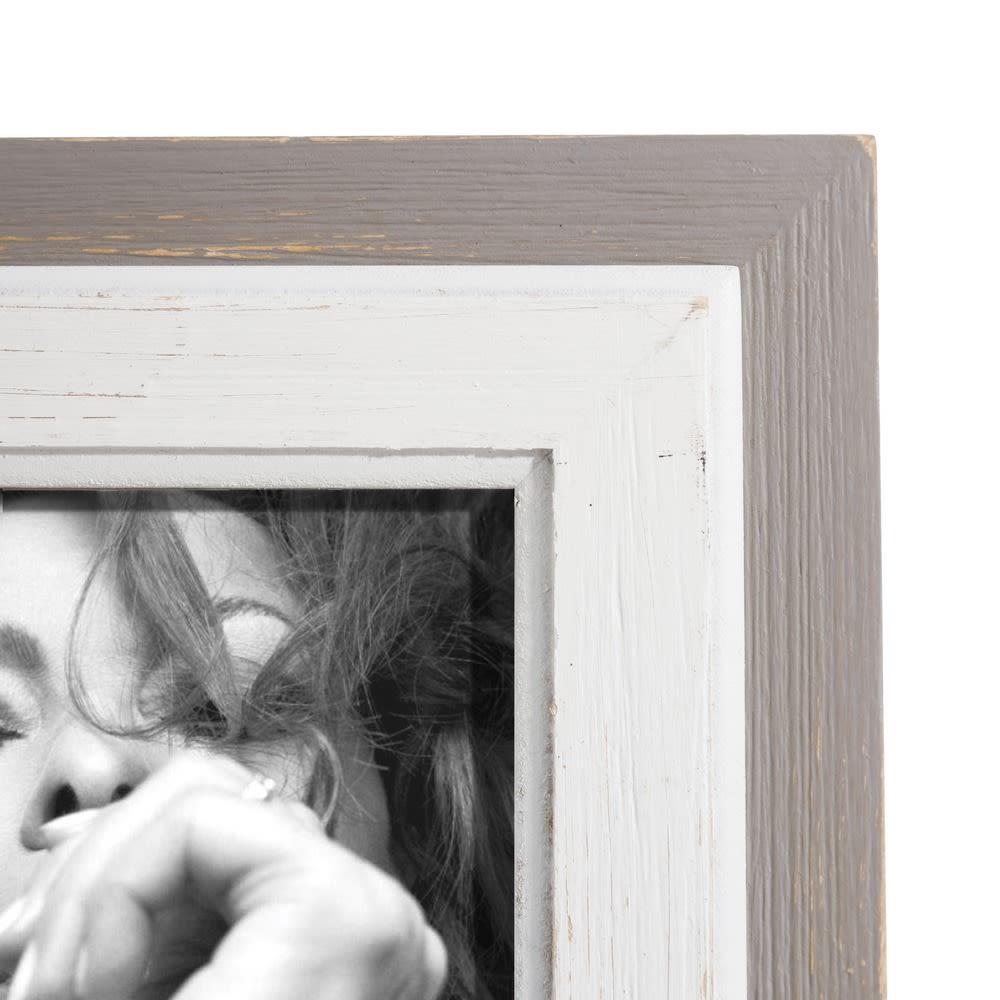 Moldura madeira cinza e branca