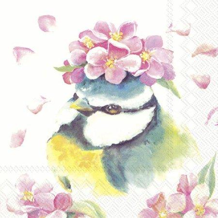 Guardanapos de papel Passarinho e flores primavera